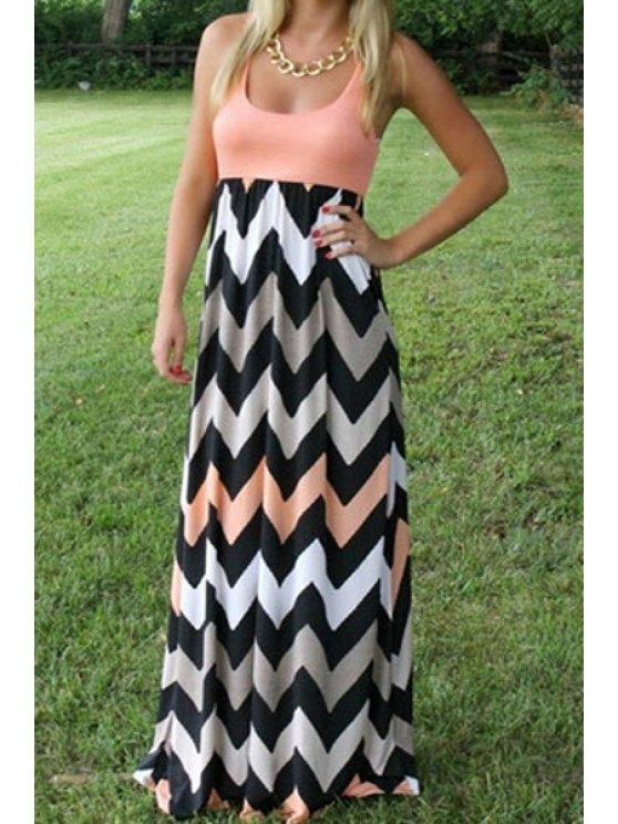 shop Zigzag Print Color Block Maxi Dress - COLORMIX S