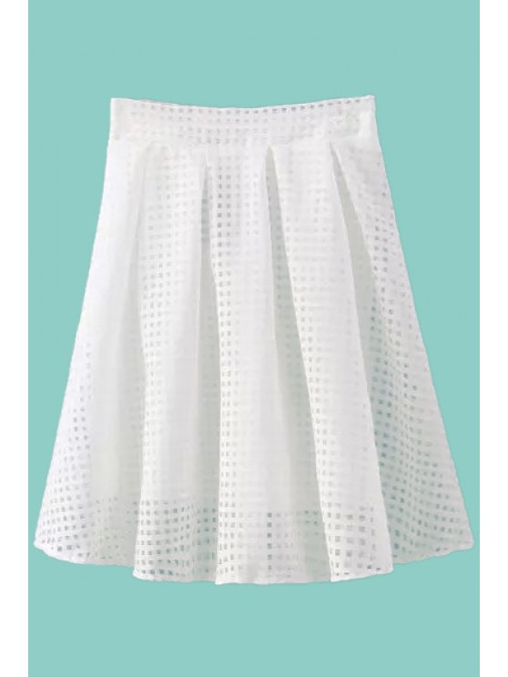fancy Checked Voile A-Line Skirt - WHITE S