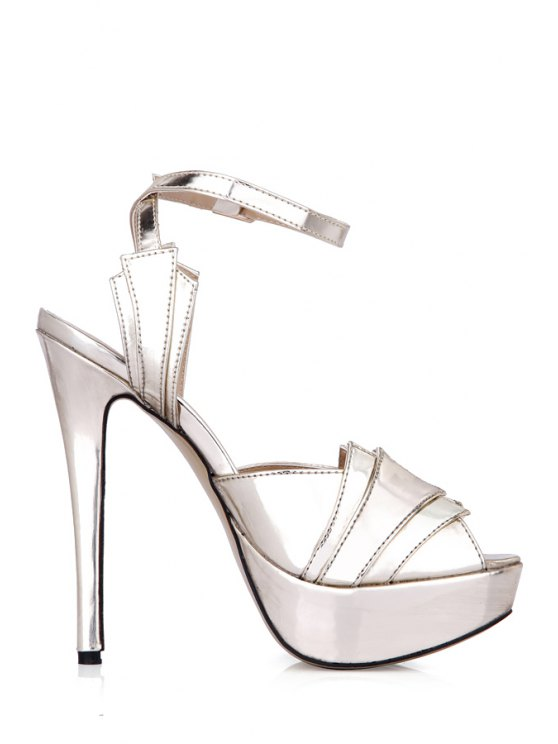 chic Solid Color Sexy High Heel Sandals - LIGHT GOLD 35