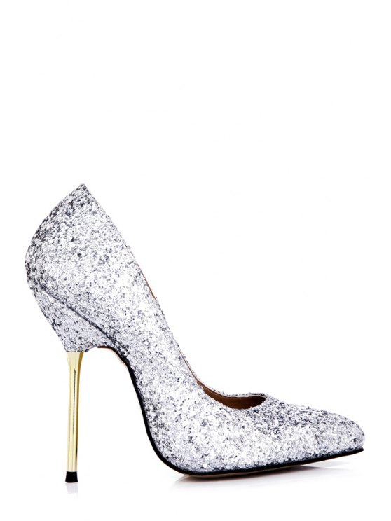 fancy Sequined Sexy High Heel Sandals - SILVER 35