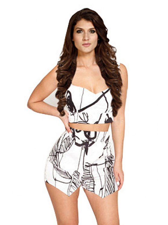 trendy Print Sleeveless T-Shirt and Shorts Suit - AS THE PICTURE S