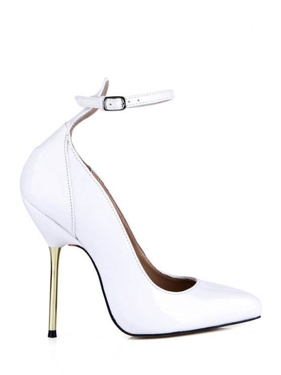 womens Patent Leather Pointed Toe White Pumps - WHITE 35