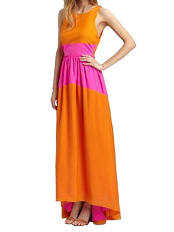 affordable Sleeveless Color Block Backless Maxi Dress - ORANGE ONE SIZE(FIT SIZE XS TO M)