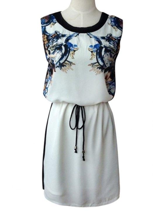 chic Print Spliced Scoop Neck Sundress - WHITE S