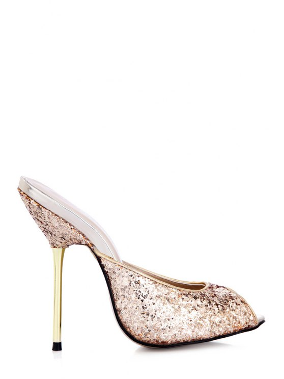 women Sequined Sexy High Heel Slippers - GOLDEN 35