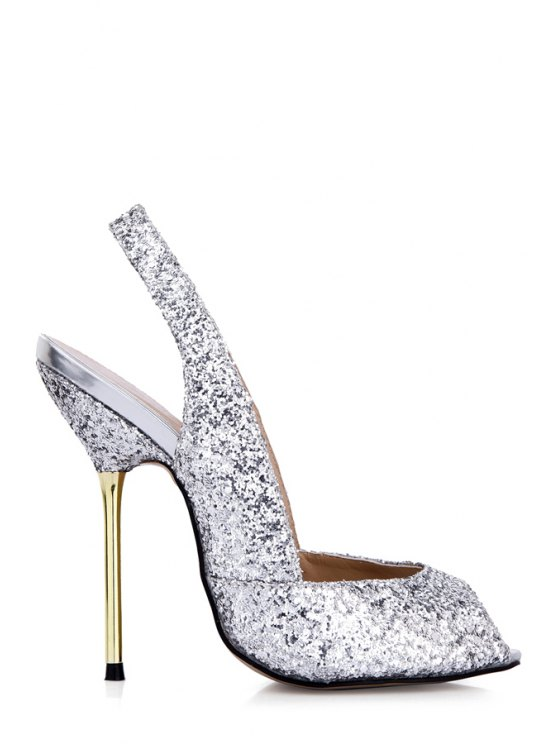 fancy Stiletto Peep Toe Sequined Sandals - SILVER 35