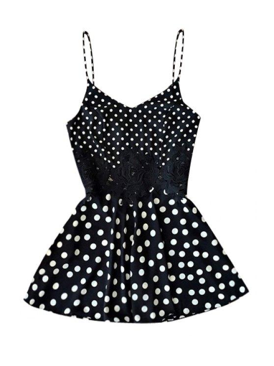 unique Polka Dot A-Line Spaghetti Straps Dress - BLACK S