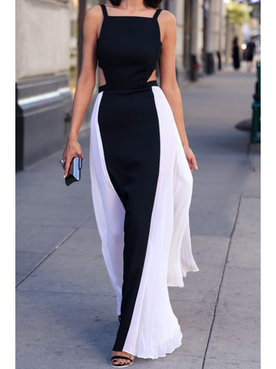 buy Spaghetti Strap Black White Splicing Backless Maxi Dress - WHITE AND BLACK S
