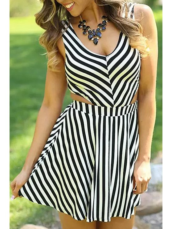fashion V-Neck Stripe Hollow Out Sleeveless Dress - STRIPE S