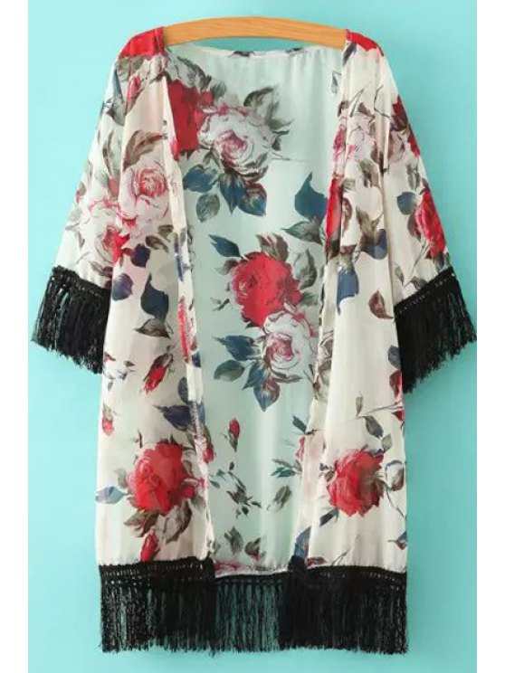 womens Floral Print Black Fringe Splicing Half Sleeve Kimono - WHITE ONE SIZE(FIT SIZE XS TO M)