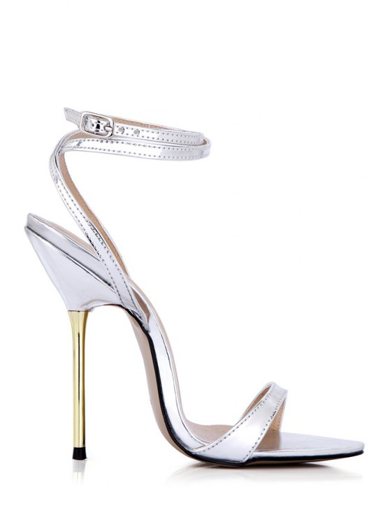 shops Sexy High Heel Solid Color Sandals - SILVER 38