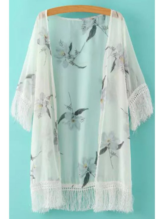 online White Fringe Splicing Floral Print Half Sleeve Kimono - WHITE ONE SIZE(FIT SIZE XS TO M)