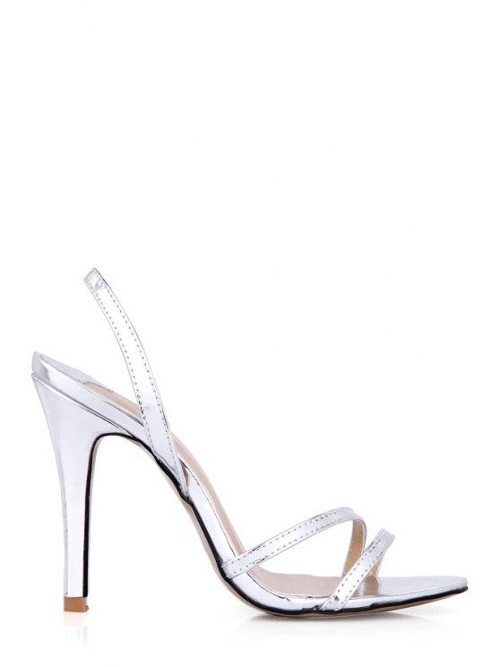 sale Stiletto Heel Solid Color Sandals - SILVER 35