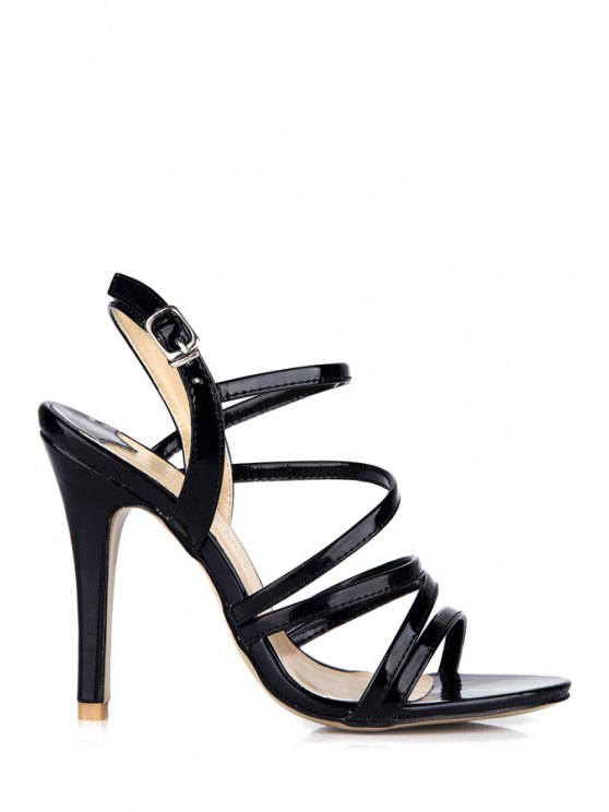 hot Patent Leather Stiletto Black Sandals - BLACK 35