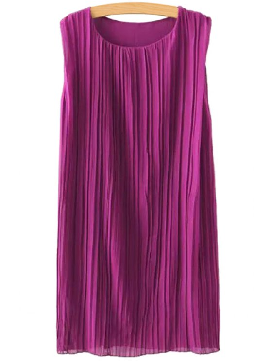 womens Jewel Neck Ruffle Solid Color Sleeveless Dress - PURPLE S