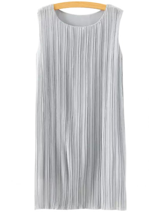 hot Jewel Neck Ruffle Solid Color Sleeveless Dress - GRAY S