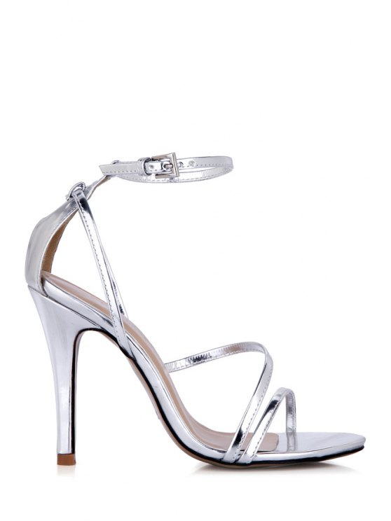 online Solid Color Ankle Strap Sandals - SILVER 36