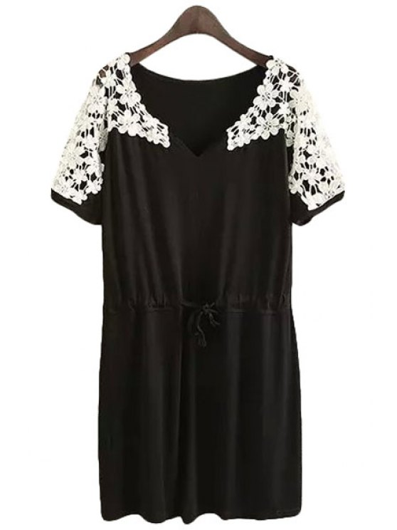 affordable Lace Splicing Openwork Tie-Up Short Sleeve Dress - BLACK S