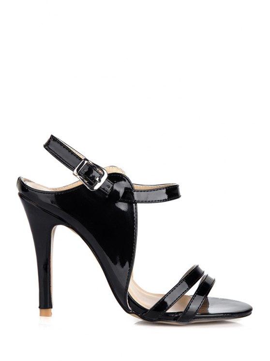 trendy Patent Leather Black Stiletto Heel Sandals - BLACK 35