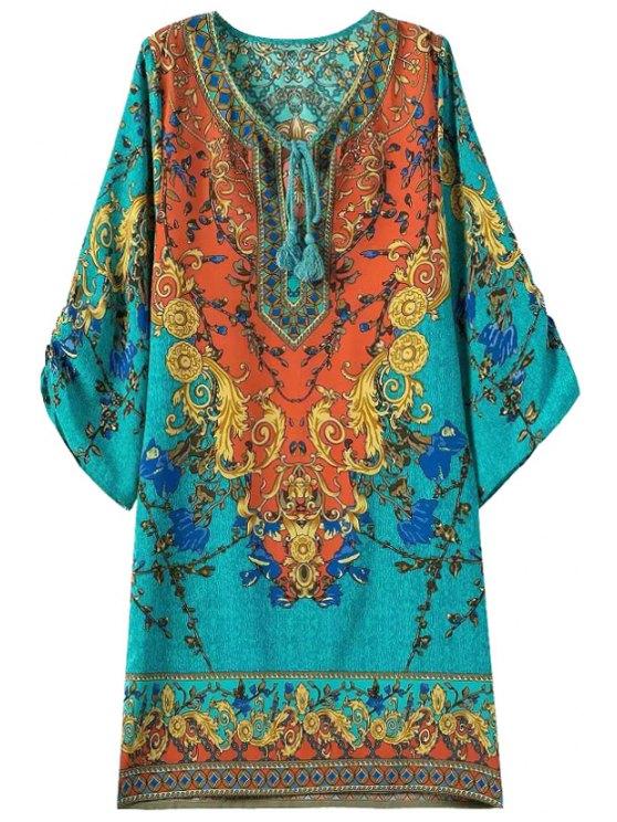 fashion Color Block Floral Print 3/4 Sleeve Dress - COLORMIX S