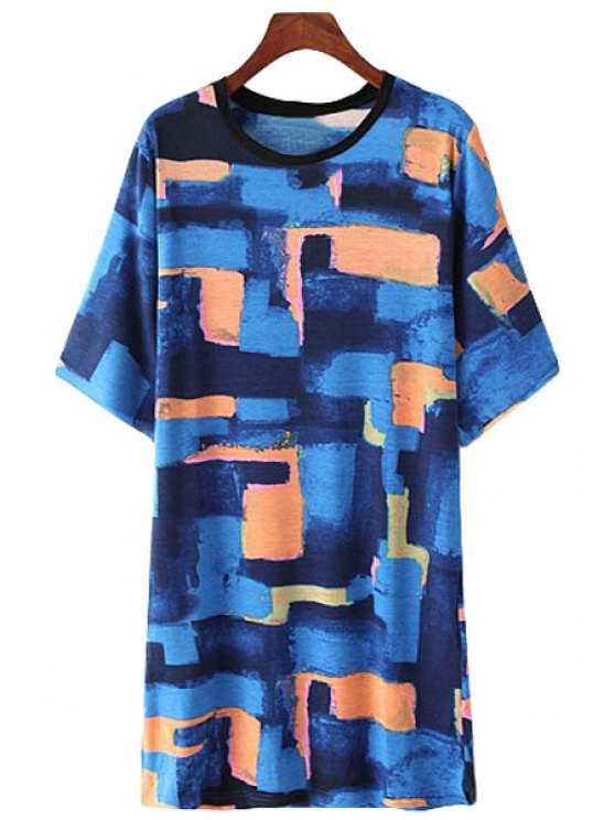 lady Color Block Plaid Print Short Sleeve Dress - COLORMIX S