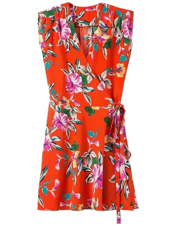 ladies V-Neck Floral Print Tie-Up Dress - RED S