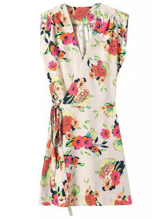 outfits Tie-Up Floral Print Sleeveless Dress - OFF-WHITE S