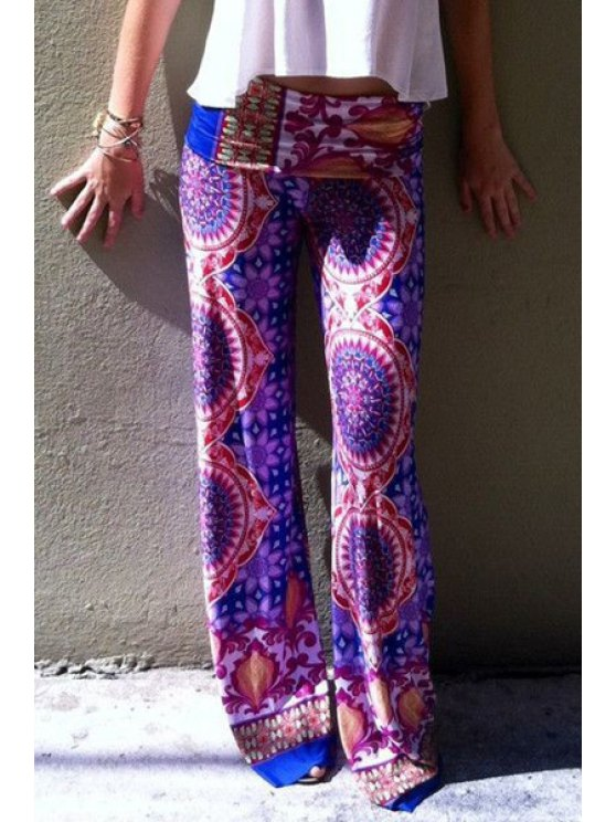 sale Flower Print Wide Leg Exumas Pants - PURPLE S
