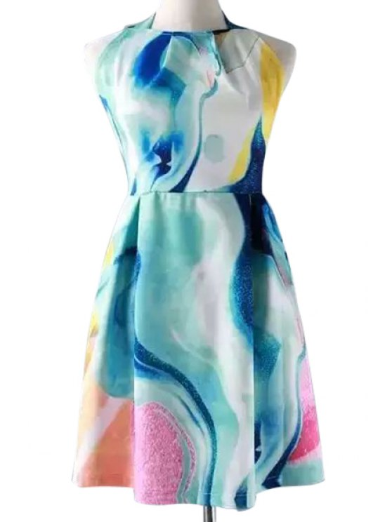 chic Halter Neck Tie Dye Print Backless Dress - BLUE S