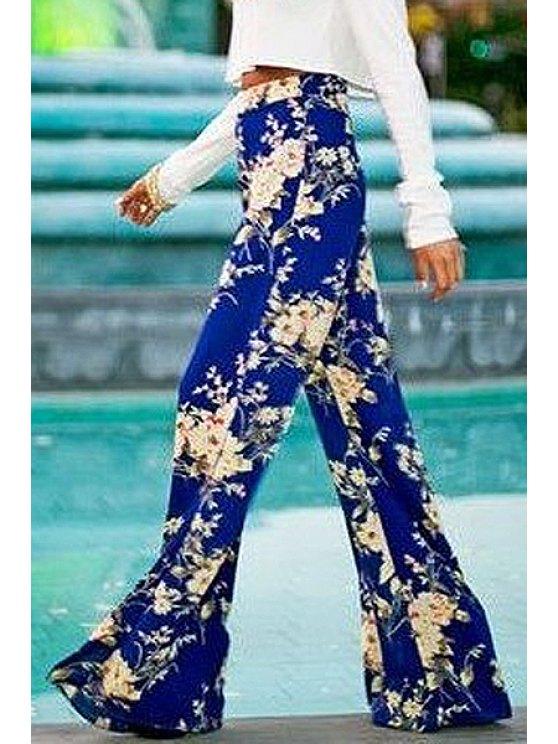 hot Blue Floral Wide Leg Exumas Pants - BLUE M