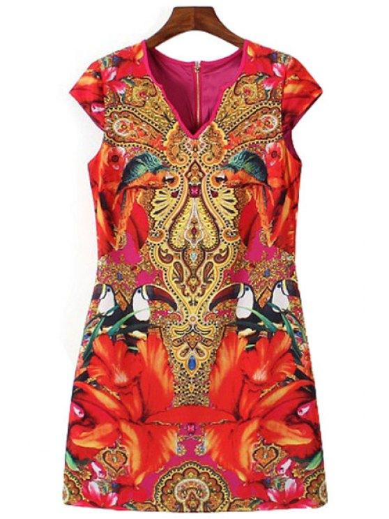 unique Abstract Print Short Sleeve Dress - COLORMIX L