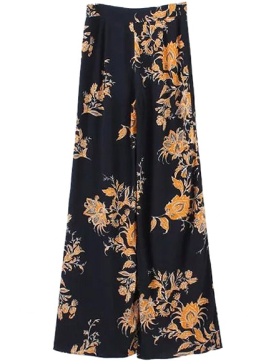 best Yellow Floral Print Wide Leg Pants - YELLOW AND BLACK S