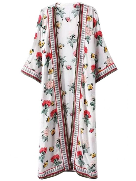 shop Colorful Floral Print Long Sleeve Kimono - WHITE L
