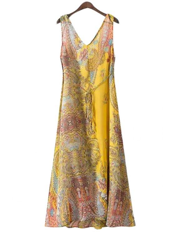 fashion Paisley Print Tie-Up Backless Sleeveless Maxi Dress - COLORMIX S