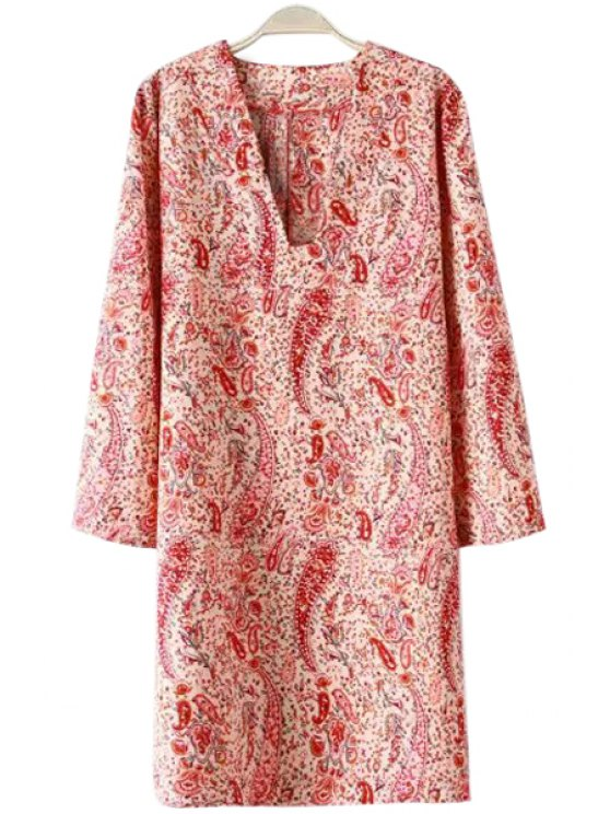 women's V-Neck Paisley Print Long Sleeve Dress - RED WITH WHITE S
