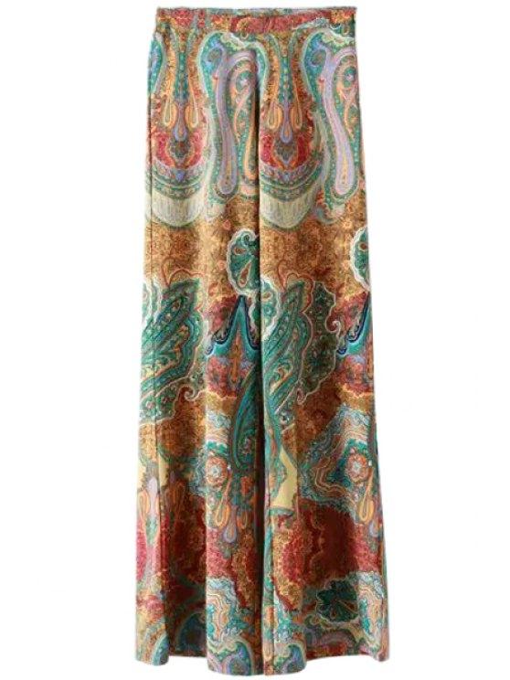 hot Color Block Print Loose-Fitting Exumas Pants - COLORMIX S