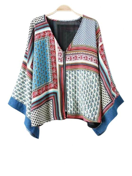 ladies Tiny Floral Print Color Block Long Sleeve Kimono - COLORMIX S