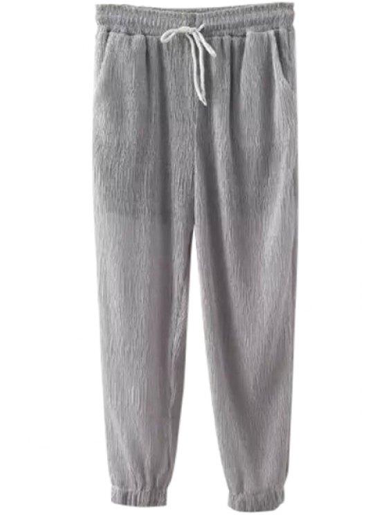 hot Ruffle Solid Color Elastic Waist Pants - GRAY S