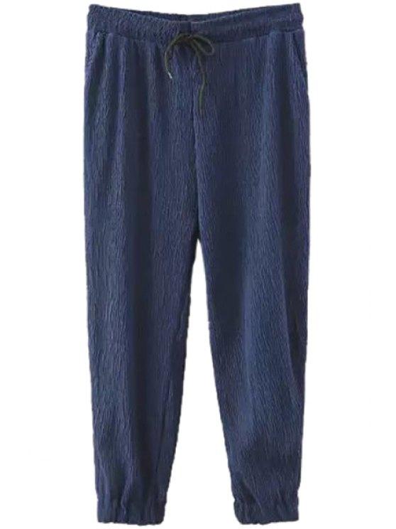 chic Ruffle Solid Color Elastic Waist Pants - PURPLISH BLUE S
