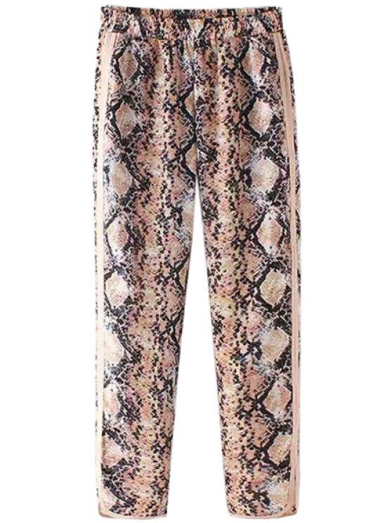 affordable Python Pattern Side Slit Pants - COLORMIX S