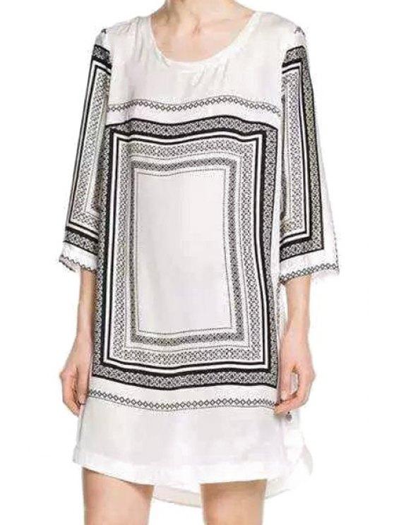 new Plaid Print Side Slit Half Sleeve Dress - WHITE S
