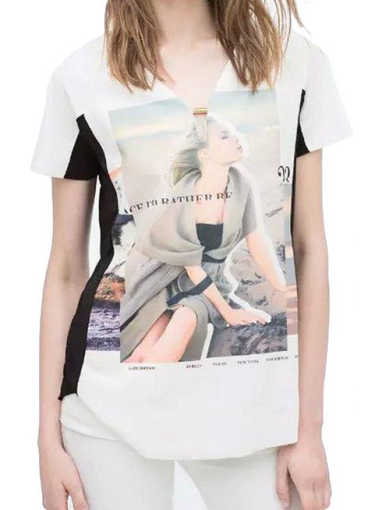 hot Figure Print Color Block Short Sleeve T-Shirt - WHITE S