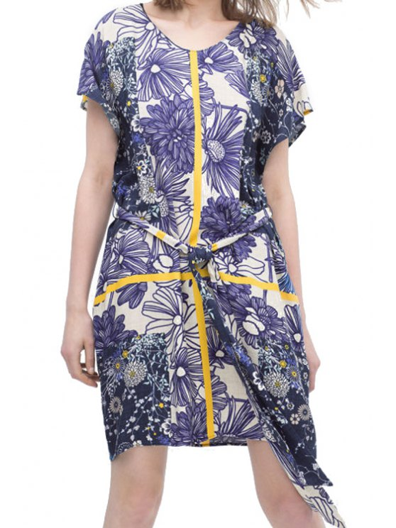 lady Floral Print Yellow Stripe Tie-Up Short Sleeve Dress - BLUE AND WHITE S