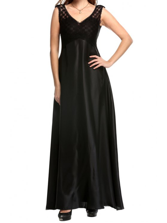 outfit Sleeveless Lace Spliced Maxi Dress - BLACK S