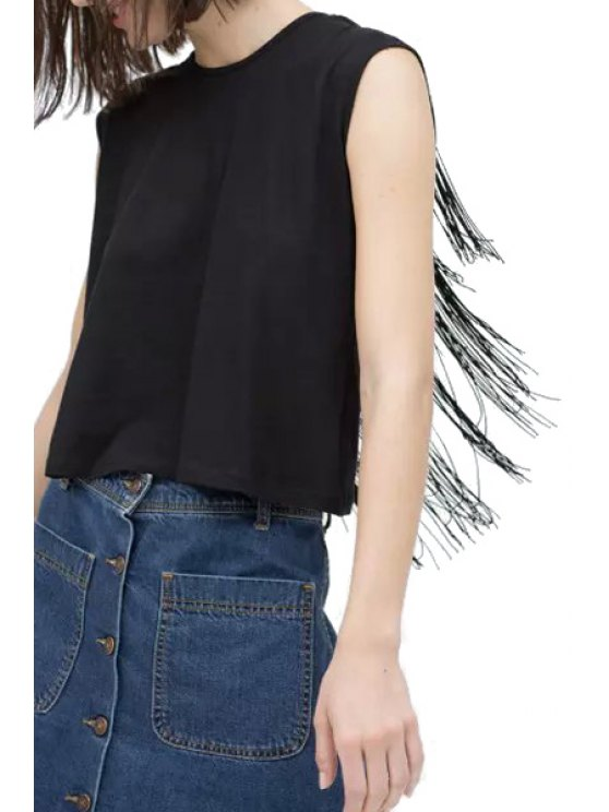 fashion Solid Color Fringe Backless Tank Top - BLACK S