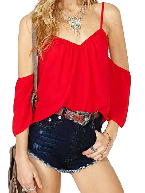 affordable Solid Color Off-The-Shoulder Short Sleeve Blouse - RED S
