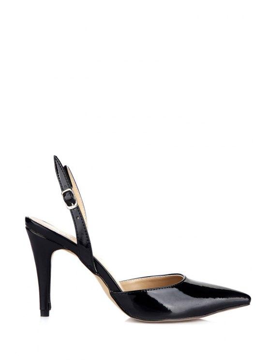unique Pointed Toe Patent Leather Black Sandals - BLACK 35