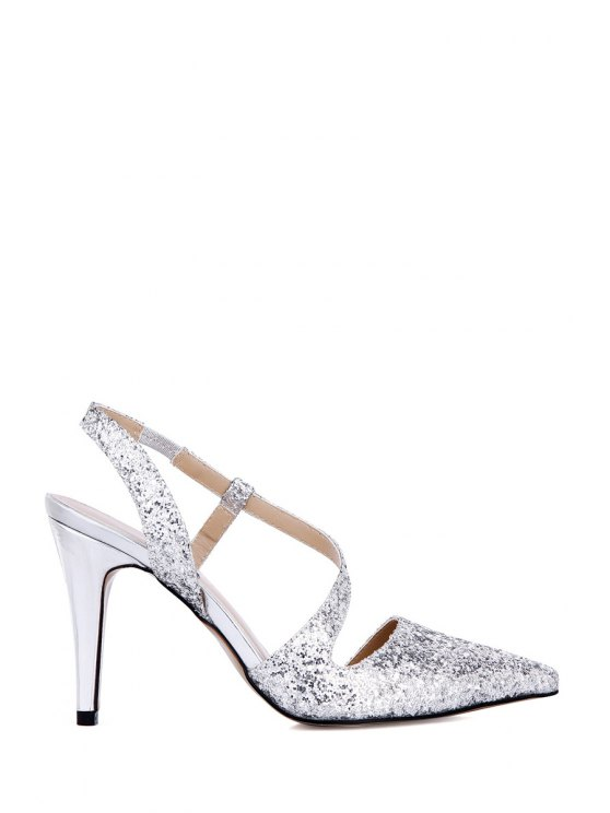 women Pointed Toe Sequined Stiletto Heel Sandals - SILVER 35