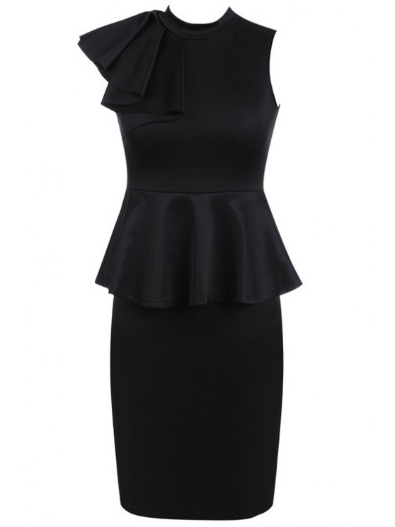 fancy Peplum Spliced Black Dress - BLACK S