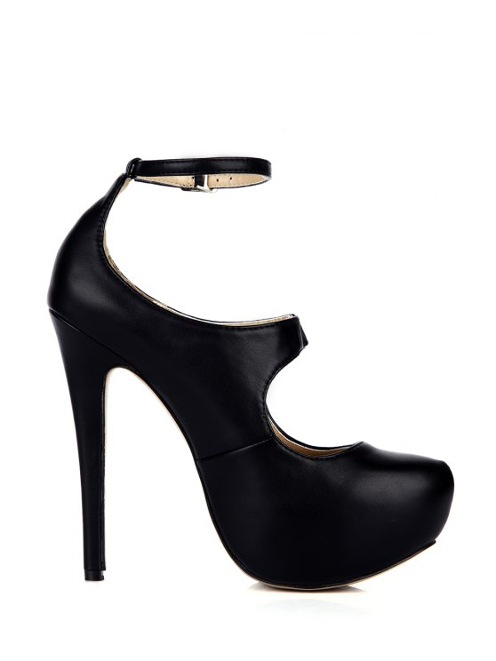 latest Ankle Strap Sexy High Heel Pumps - BLACK 35